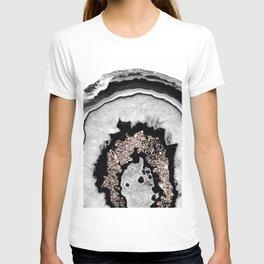 Gray Black White Agate with Rose Gold Glitter #1 #gem #decor #art #society6 T-shirt
