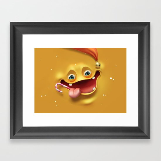 Christmas mad face Framed Art Print
