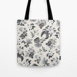 Vintage flowers on cream blackground Tote Bag