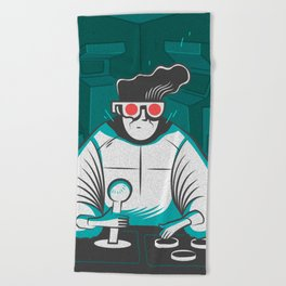 arcade nerd Beach Towel