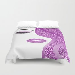 Purple glitter woman Duvet Cover