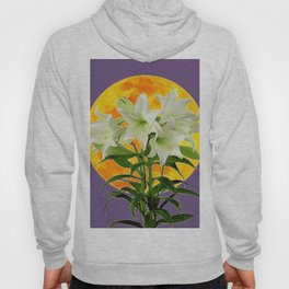 EASTER LILIES ON LILAC GOLDEN MOON ABSTRACT Hoody