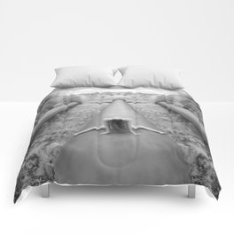 0925-LP Industrial Nature Nude Woman Straddling Massive Hydro Pipe Comforters