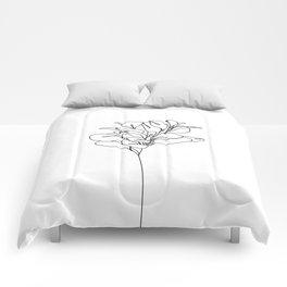 Plant one line drawing illustration - Marah Comforters