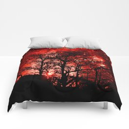 black trees red space Comforters
