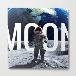 Funny Astronaut on the Moon Metal Print