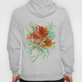 Red Poppies, Red flowers, French Country Style Field Flowers Hoody