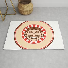 Grinning Funny Face Mascot Circle Retro Rug