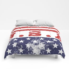 USA Patriotic Rubber Stamp Icon Comforters