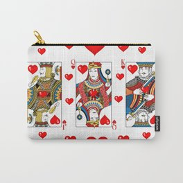 JACK, QUEEN, KING OF HEARTS SUIT CASINO  FACE CARDS Carry-All Pouch