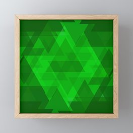 Bright green large triangles in the intersection and overlay. Framed Mini Art Print