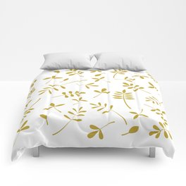 Gold Leaves Design on White Comforters