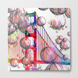 Golden Gate Bubbles Metal Print