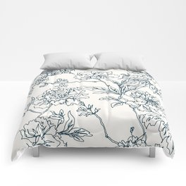 Navy and Cream Vintage Chinoiserie Botanical Floral Toile Wallpaper Pattern Comforters
