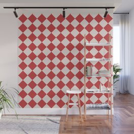 Red and White Checkered Diamond Pattern Wall Mural