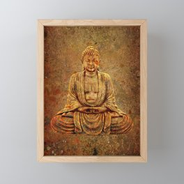 Sand Stone Sitting Buddha Framed Mini Art Print
