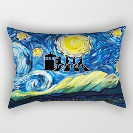 Tardis With The Doctors And Starry Night Rectangular Pillow