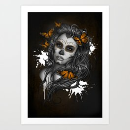 Sugar Skull Tattoo Girl with Butterflies Art Print