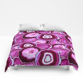 Geode Slices No.1 in Pink Agate Comforters