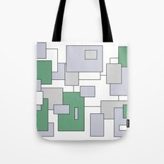 Squares - green, gray and white. Tote Bag