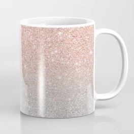 Modern trendy rose gold glitter ombre silver glitter Coffee Mug