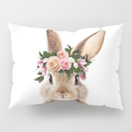 Baby Rabbit, Bunny With Flower Crown, Baby Animals Art Print By Synplus Pillow Sham