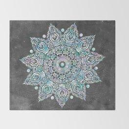 Mermaid Mandala on Deep Gray Throw Blanket