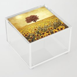 lone tree & sunflowers field Acrylic Box