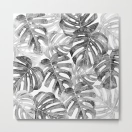 Black and white Monstera leaves Jungle leaves Palm leaves Tropical Metal Print