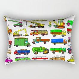 Doodle Trucks Vans and Vehicles Rectangular Pillow