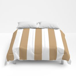 Fallow brown -  solid color - white vertical lines pattern Comforters