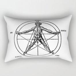 Three books of occult philosophy - man inscribed in a pentagram Rectangular Pillow