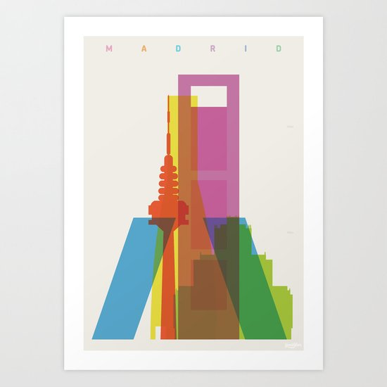 Shapes of Madrid. Accurate to scale. Art Print