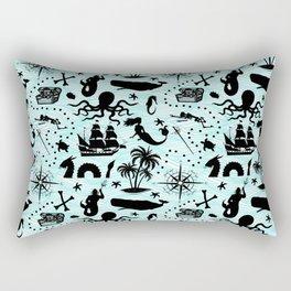 High Seas Adventure // Teal Waves Rectangular Pillow
