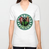 starbucks V-neck T-shirts featuring Starbucks Friends  by Ellador