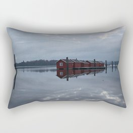 Houses on the river Rectangular Pillow