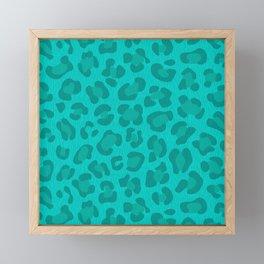 Leopard - Robin's Egg Blue Framed Mini Art Print