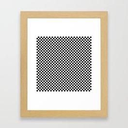 Black White Checks Minimalist Framed Art Print