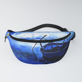 sunrise boat silence watercolor splatters cool blue Fanny Pack