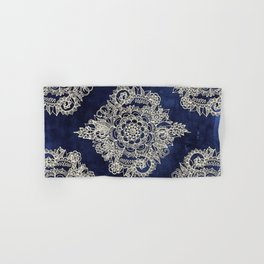 Cream Floral Moroccan Pattern on Deep Indigo Ink Hand & Bath Towel