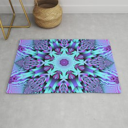 Kaleidoscope Patterns in purple, pink and mint Rug