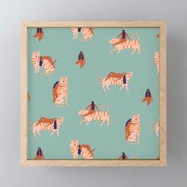 Tigers and girls Framed Mini Art Print