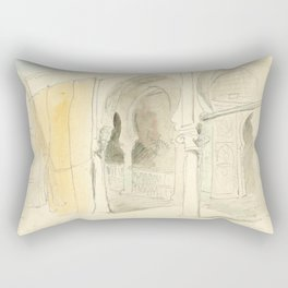 "Eugène Delacroix ""A courtyard in Marocco"" Rectangular Pillow"