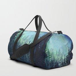 Galaxy Watercolor Aurora Borealis Painting Duffle Bag