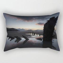 Sunset over the Helvetia at Rhossili Bay Rectangular Pillow