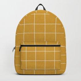 Small Grid Pattern - Mustard Yellow Backpack