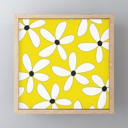 Happy flowers Yellow Framed Mini Art Print
