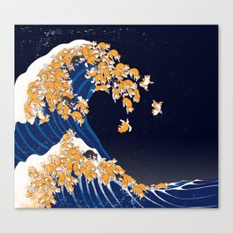 Shiba Inu The Great Wave in Night Canvas Print