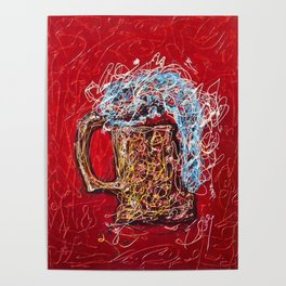 Abstract Beer - Inspired By Pollock  #society6 #wallart #buyart by Lena Owens @OLena Art Poster