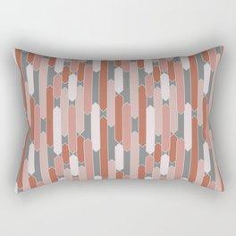 Modern Tabs in Terracotta on Gray Rectangular Pillow